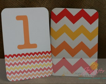 Chevron Table Numbers in Citrus Punch  1-10