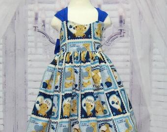 Bear Dress, Girl Blue Dress, Teddy Bear Dress, Tea Time Dress, Birthday Dress, Heart Dress, Blue and Yellow Dress, Gingham Blue Dress