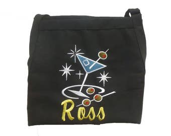 Retro Custom Personalized  Embroidered Apron  with Martini - Your Color Choice