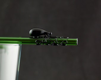 Octopus Glass Straw Hand Blown in Emerald Green & Black, Ready to Ship #575