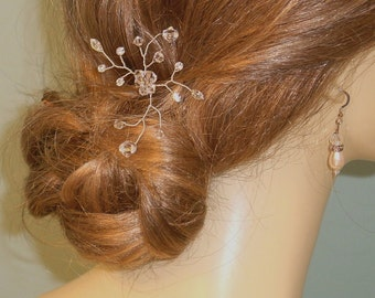 Wedding Hairpin Silver  with Crystals and Rhinestones  Made to Order Ships in 1-2 weeks