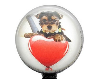 Puppy Dog with Heart Photo Glass ID Badge Holder, Retractable Badge Reel - 262
