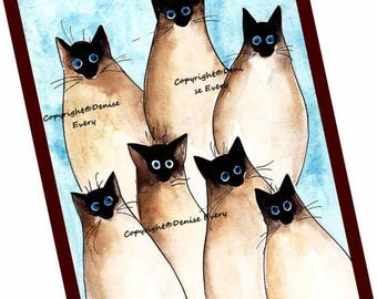 Siamese Cat Art Silly Siamese Abstract Cat Art Print Siamese Cat Lover Cat ACEO Art Cat Gift ACEO Print Siamese Cat Artwork Denise Every