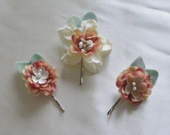 Bridal Hair Pins, Dusty Rose Flower Clip, Wedding Hair Accessory, Bridal Hair Clips, Spring, Ivory Hair Pins, Floral Hair Clips