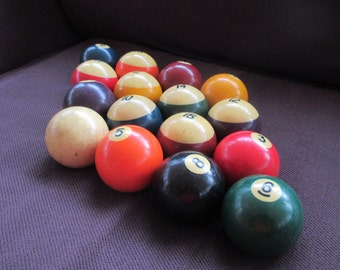 Set of Vintage Pool Balls - Billards - The Hustler