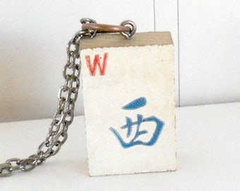 SALE Vintage Mahjong Tile Necklace wood game antique