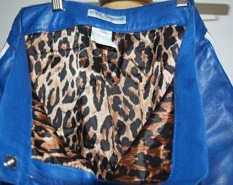 Dolce&Gabbana leather pants Blue leather capri leopard print lining Euro38