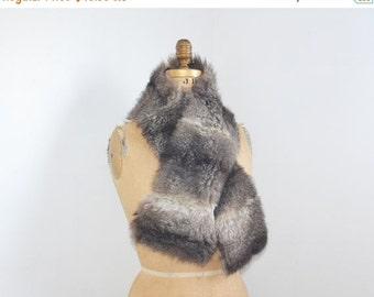 SALE- Grey fur scarf -real opossum fur scarf