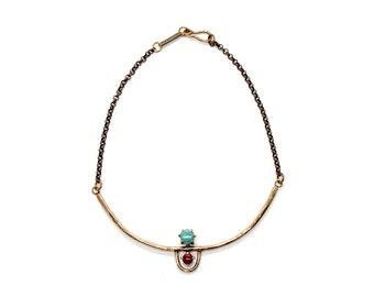 Arche Collar // Amazonite & Red Jasper