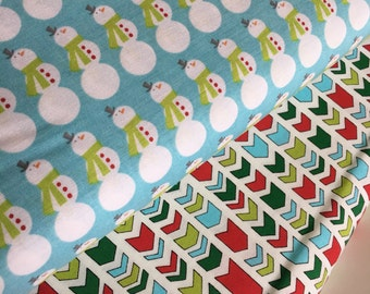 SALE fabric, Christmas fabric, Arrow fabric bundle, Holiday fabric, Snowman, Fabric by the Yard- Fabric Bundle of 2, Choose The Cuts