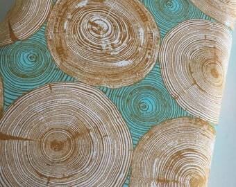 Woodgrain Fabric, Woodland Nursery fabric, Modernist fabric, Joel Dewberry, Emerald fabric, Tree Ring Bling in Dijon- Choose the cut