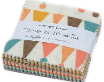 "Corner of 5th & Fun Moda Mini Charm Pack, 42 -  2.5"" precut fabric quilt squares by Sandy Gervais"