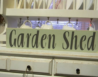 Garden Shed  Primitive Hand Painted Wood Signs Weathered Signs Decorative Wood Signs Wall Decor Custom Sign Wall Art