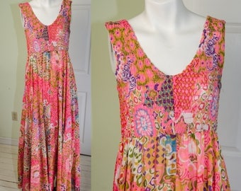 Vintage 70's Full Length Sweep Hot Pink Ethnic Print Sun Dress