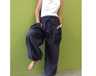 Hippie Gypsy Ohm Cotton Patchwork Pockets Unisex Long Aladdin Yoga Summer Pants S-L (OH 2)
