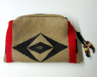 Beaded Zippered Pouch Coin Purse Change Purse Accessory Organizer Blanket Wool from Pendleton Oregon