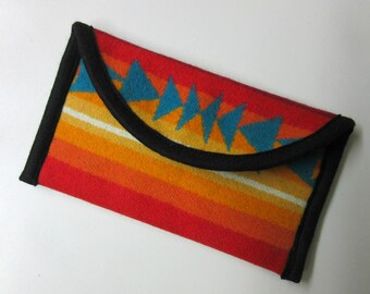 Wallet Clutch Bag Southwest Print Wool from Pendleton Woolen Mills Magnetic Snap Closure Colorful