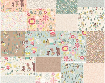 "SQ32 Riley Blake GOLDILOCKS Precut 5"" Stacker Charm Pack Fabric Quilting Squares 5-5710-42"