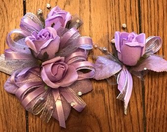 SALE Lavender Rose Corsage and Boutonniere