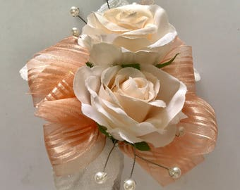 Peach Silk Corsage (pin on)
