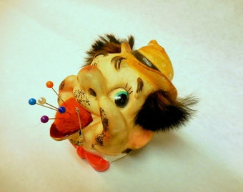 Unique Vintage Clown with a Pin Cushion in His Mouth, Oh My!