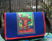 Godzilla Messenger Bag, Blue and Red Canvas Courier Bag with Japanese Monster, Cross body Bookbag