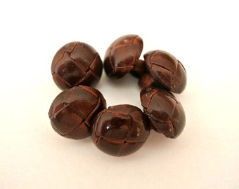 6 Vintage leather buttons 15mm, leather shank brown, beautiful buttons