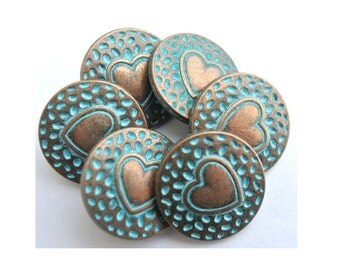 Metal buttons heart inside design 18mm copper color base with blue cover, 6pcs