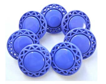 Vintage, 6 plastic buttons, 21mm,  flower  shape, blue to purple