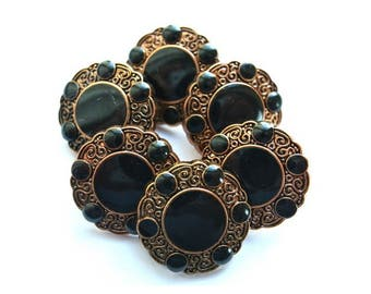 6 Vintage flowers buttons bronze color with black trim and dots 21mm