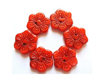 6 Vintage buttons flower shape hand painted in orange CRYSTAL czech 18mm, for button jewelry