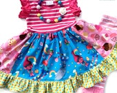 Trolls dress Cupcake and Rainbows Momi boutique custom dress