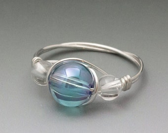 Aqua Aura Crystal & Clear Quartz Sterling Silver Wire Wrapped Bead Ring - Made to Order, Ships Fast!