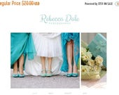 "Spring Sale Responsive Blogger Template / Slideshow / Premade Blog Design - ""Rebecca Dale"" Blue Turquoise"