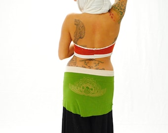 Green mini skirt with a gold screen print