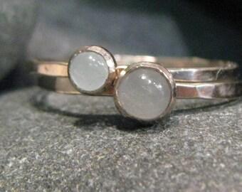 Aquamarine, 14k White Gold Stacking Ring Set. Hammered, Engraveable. No Plating.