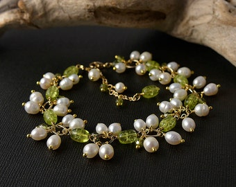 A la Lily of the valley flowers spring bracelet with pearls