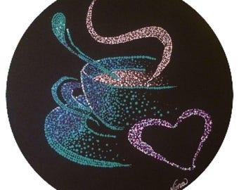 "Coffee cup latte Acrylic 12"" round on black canvas board. black, blue, purple"