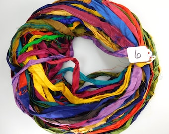 Sari Silk Ribbon, Recycled Silk Sari Ribbon, multi color ribbon, weaving supply, rug making supply, wrap ribbon, crochet supply