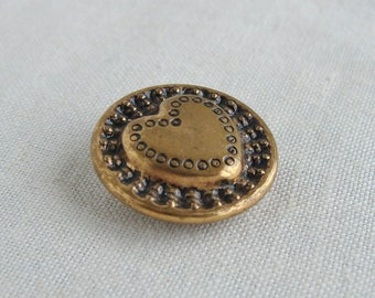 Vintage Heart Gold Tone Metal Button