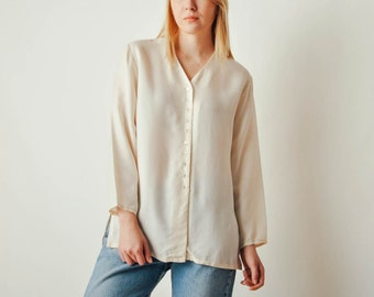 Vintage Off-white Silk Button Down Blouse