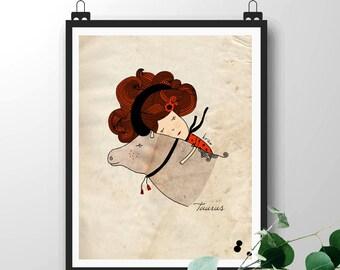 Taurus Illustration Print, Astrological Sign, Zodiac Art Print, Birthday Print, Baby Girl Nursery Room Decor