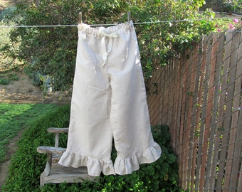 Girls Medium Bohemian Pantaloons Natural Tissue Linen Cotton Ready now!