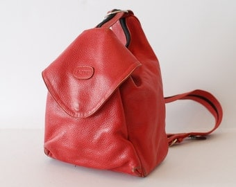TRIANGLE red leather 80s 90s KNAPSACK grunge HOBO convertible backpack purse