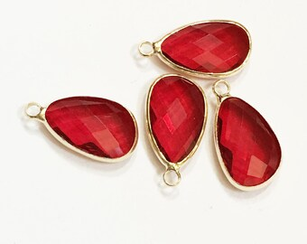 4 glass faceted teardrop pendant with Gold frame, Ruby Red glass drops 22x11.5mm, framed glass teardrops