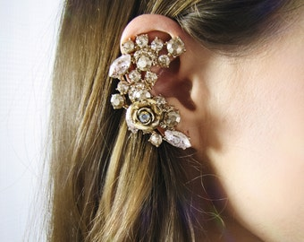 champagne gold and crystal flower ear cuff set with  post earring for pierced ears