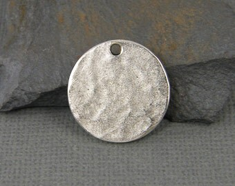Antique Silver Stamping Blank Round Circle Tag Textured Hammered Disc Pendant Charm Layering Jewelry |NU3-6|1 XN