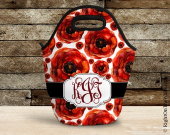 Floral Lunch Bag for Women, Poppy Flower Monogram Lunch Tote, Large Insulated Lunch Bag, Reuseable, Custom Lunch Tote, Mothers Day Gift
