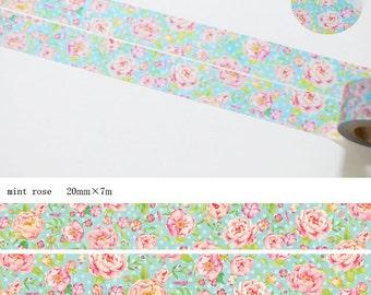 Mint Rose Washi Tape • Kamito Masking Tape (CRM00700)