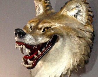 Coyote Mask Woodcarving By Jason Tennant